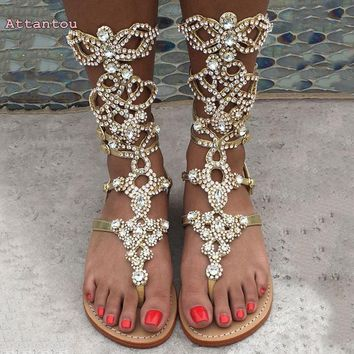 Customize large size sandals diamond-studded summer high-precision high-heeled sell through Amazon burst flat beach long boots