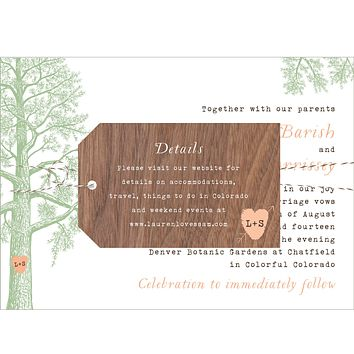 Trees with Thumbprint Carved Heart Wedding Invitation Collection