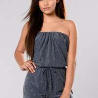 Bring Me Up To Speed Romper - Denim Blue