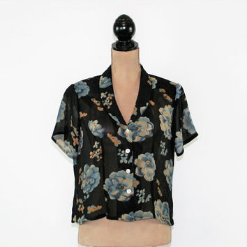 Black Floral Chiffon Blouse Medium Short Sleeve Button Up Top Sheer Top Floral Shirt Boho Clothing Vintage Clothing Womens Clothing
