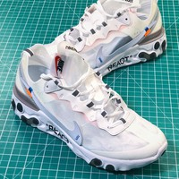 Off White X Nike Upcoming React Element 87 White Sport Running Shoes - Best Online Sale