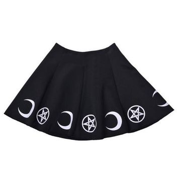 Black Women Skirts Gothic Symbol Pentagram Moon  Print Kawaii High Waist Mini Skirt For Girls