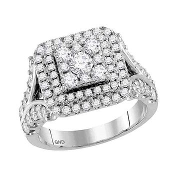 14kt White Gold Women's Round Diamond Square Cluster Bridal Wedding Engagement Ring 2.00 Cttw - FREE Shipping (US/CAN)