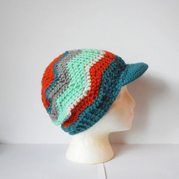 Chevron Stitch Skullcap Beanie with Brim in Hermosa, MADE TO ORDER.