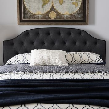 Baxton Studio Windsor Modern and Contemporary Dark Grey Fabric Upholstered Scalloped Buttoned Queen Size Headboard Set of 1