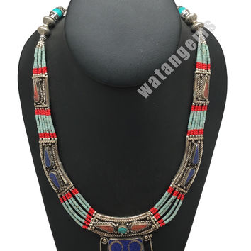Ethnic Tribal Lapis, Red Coral & Green Turquoise Inlay Statement Necklace, NPL14