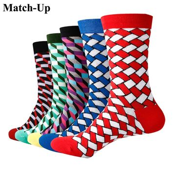 Match-Up Men Fashion Embracing rhombus Cotton  Socks argyle Casual Crew Socks (5 Pairs/Lot) US 7.5-12