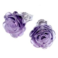 Jovivi 925 Sterling Silver Synthetic Amethyst Flower Rose Stud Earrings: Jewelry