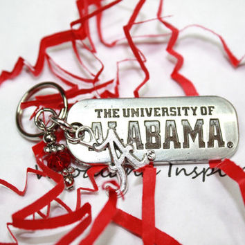 University of Alabama key chain, Roll Tide keychain, Alabama A charm, Big Al, Crimson Tide, Crimson beads