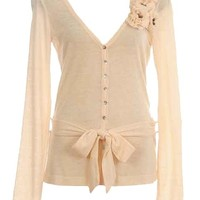 Belted Corsage Cardigan | Women's Sweaters | RicketyRack.com