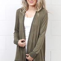 Lattice Back Mineral Wash Cardigan {Olive}