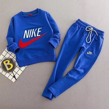 Nike Girls Boys Children Baby Toddler Kids Child Fashion Casual Top Sweater Pullover Pants Trousers Set Two-Piece