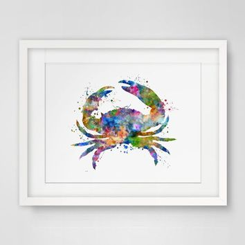 Crab Painting Watercolor Giclée Kids Room Decor Crab Blue Watercolor Animal Art Print Marine Life Poster Gift Artwork
