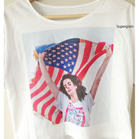 Lana Del Rey USA Flag Popular American Singer Music Alternative Rock Hip Hop Pop Women Top Wide Crop Fashion T shirt Free Size
