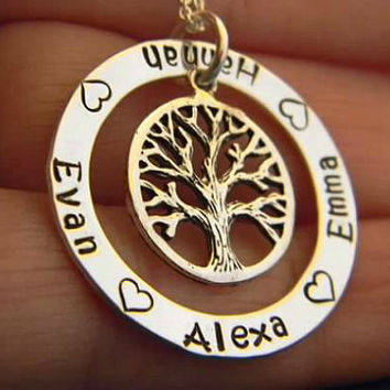 Family Tree, Mom, Mother, Grandmother, Nana Solid Sterling Silver Personalized Custom Made Hand Stamped Multi Name Washer Necklace (1')