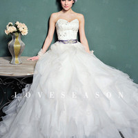 Ball Gown One Shoulder Court Train Organza Weeding Dress - LoveSeason.com