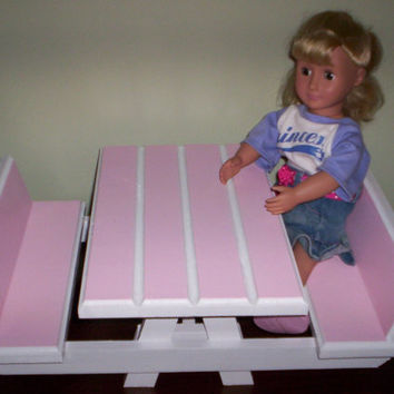 pink picnic table and two benches Handcrafted for American Girl 18 inch doll furniture