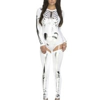 White & Metallic Silver Long Sleeve Skeleton Bodysuit Costume
