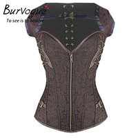 Burvogue Waist Trainer Steampunk Corset Gothic Corset Bustiers With Chain Gothic Bustier Spiral Boned Slimming Women Corselet