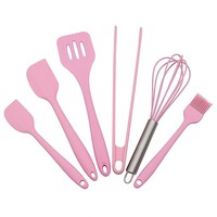 Silicone Baking Utensils Sets- 6 Piece Premium Silicone Baking Tool Set –Tongs, Whisk, 2 Sizes Spatula, Pastry Brush, Slotted Turner - Heat Resistant Baking Utensil Tool Set(Pink)