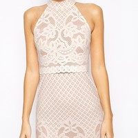 ASOS PETITE Bodycon Dress In Lace With High Neck
