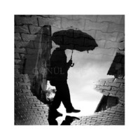 Black and white photography,  Reflection, Rain photography, rain man, Art photography, Wall decor, home decor, 12''x 12''inch