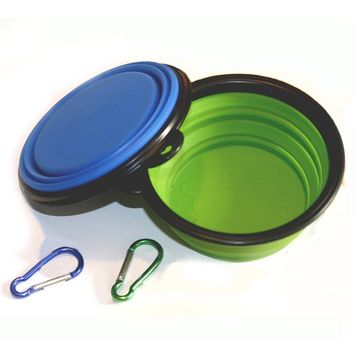 Collapsible Travel Dog Bowl, Food Grade Silicone BPA Free