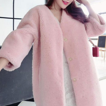 Imitation fur half sleeve flush coat Pink
