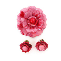 Retro Metal Flower Brooch, Pink Flower Earrings, Enamel Pin Set, Corocraft Brooch