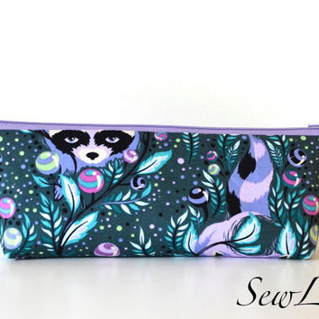 Pencil Case, Pencil Pouch, School Supply - Tula Pink - Raccoon - Bold, Bright - Toiletry & Cosmetics Bag, Diaper Clutch, Teacher Gift
