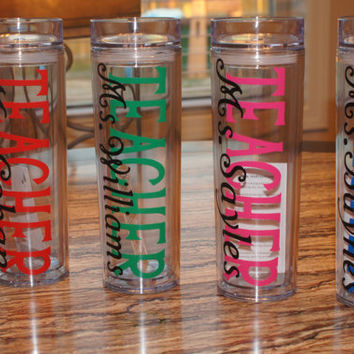 Personalized Skinny Tumblers: Teacher Appreciation, 16 oz Acrylic Insulated Double Walled Skinny Tumbler Cup With Lid and Matching Straw