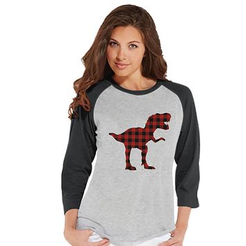 Women's Dinosaur Shirt - Buffalo Plaid Dino Grey Raglan - Ladies Dinosaur Shirt - Plaid Dinosaur Shirt - Dinosaur Gift Idea for Her