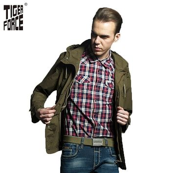 TIGER FORCE 2017 Plus Size Men Trench Coat Army Fashion Casual Jacket Mens Hooded Trench Coat Russian Style Free Shipping 31315A