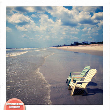 Square digital download, ocean printable, summer, beach chairs along the shore, wall art, home decor, clouds, blue sky, fine art photography