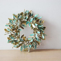 Mastic tree wreath, Greek schinus mini wreath, electroplated mastic tree wreath, brass-copper patina mastic tree wreath, gold green wreath