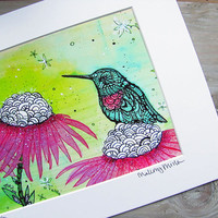 Hummingbird Zentangle Art Print -  Limited Edition