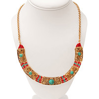 Worldly Faux Turquoise Bib Necklace