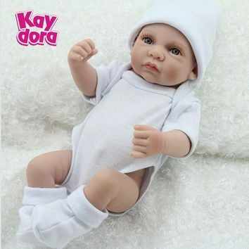 10 inch 25cm Full Silicone Reborn Baby Dolls Alive Lifelike Mini Real Dolls Realistic Bebe Reborn Babies Toys Bath Playmate Gift