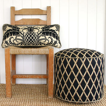 "Black Bamboo outdoor pouf ottoman floor seat | Round 45cm or 18"" diameter"