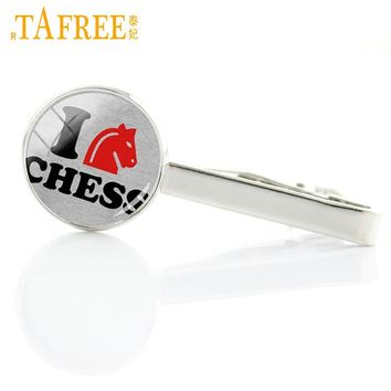 TAFREE Vintage I Love chess tie clips dress acessories black queen white king fashion chess lover men tie pin bar jewelry E582