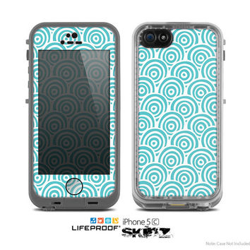The Tiffany Blue & White Swirls Skin for the Apple iPhone 5c LifeProof Case