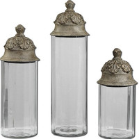Uttermost Acorn Glass Cylinder Canisters, Set/3 - 19714