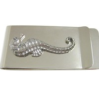 Silver Toned Textured Sea Horse Money Clip