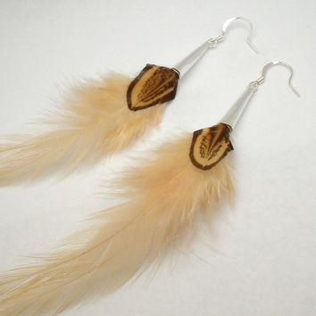 Soft Cream Double Feather Earrings Almond by donaarg on Etsy