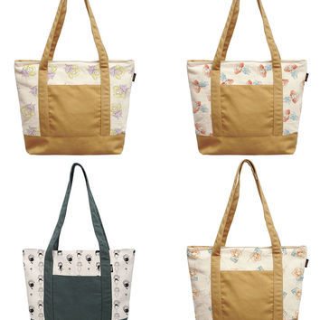 Pencil Drawing Little Girls Printed Cotton Canvas Vintage Shoulder Bags WAS_13