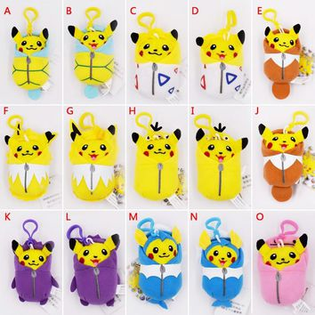 8-10cm Pikachu Cosplay Eevee Jolteon Magikarp Togepi Squirtle Gengar Ditto Psyduck Keychain Keyring Pendant Stuffed Plush Toys