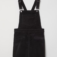 Corduroy Bib Overall Dress - Black - Ladies | H&M US