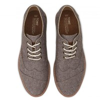 TOMS Shoes Brown Chambray Brogues Men's Dress Shoes,