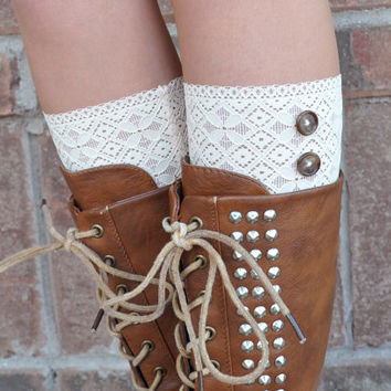 Lace Boot Cuffs - Faux Lace Boot Socks - Faux Lace Leg Warmers - Lace Boot Topper - Boot Topper - Faux Knee High Sock - Womens - Tan