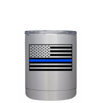 Blue Line American Flag 10 oz Lowball Police Tumbler